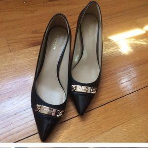 Coach Black Leather Heeled Pumps Shoes